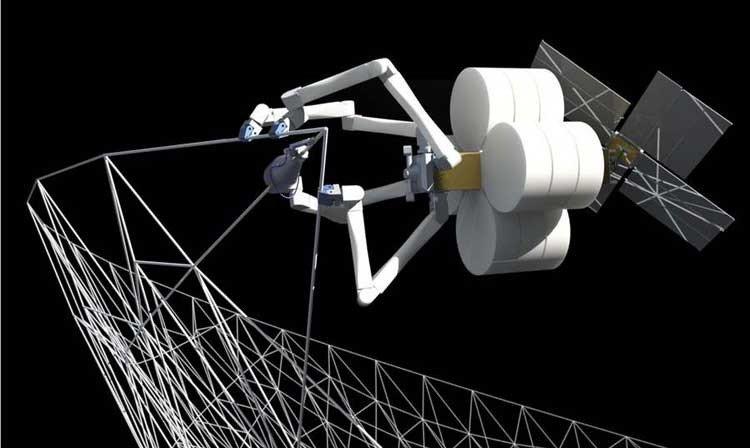 Arañas robot construyen estructuras espaciales