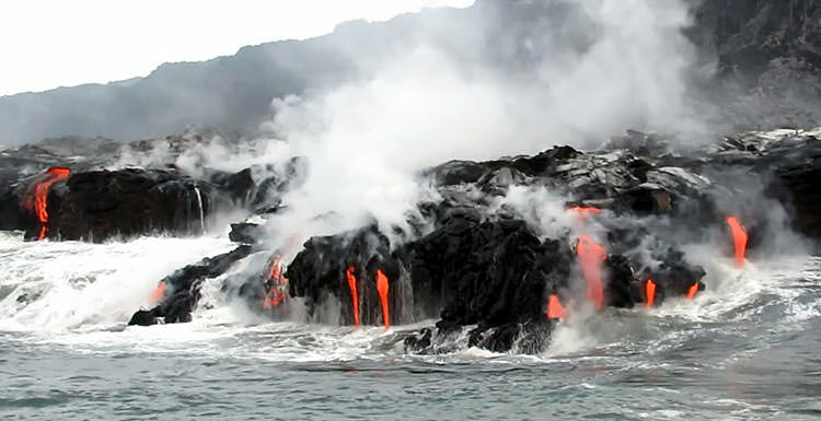 Maravilla de la lava volcánica en Big Island Hawaii