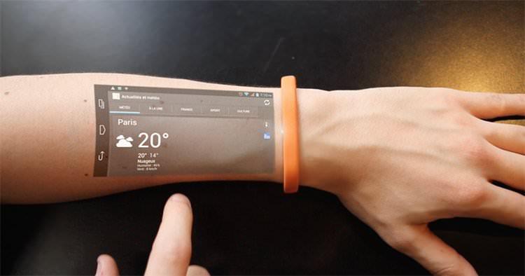 Nuevo Teléfono celular que se proyecta en la piel